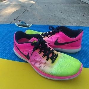 Nike Mens Shoes Neon Pink Yellow Flex 2016 Run
